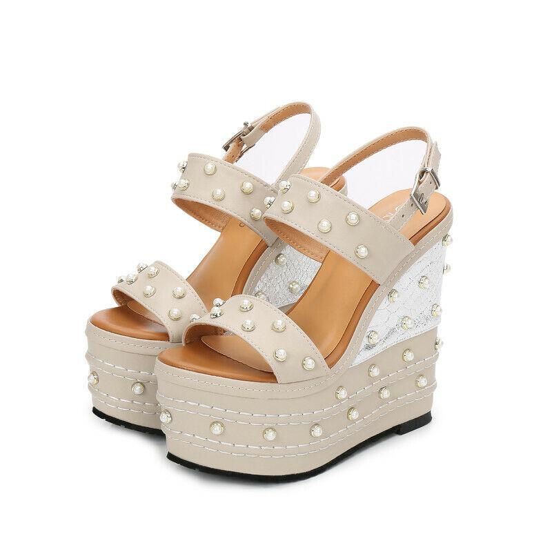 Womens 16cm Heels Wedge Platform Slingbacks Open Toes Pearls Comfy shoes Pumps
