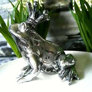 Froschkoenig-Frosch-Silber-Maerchen-Figur-Skulptur-Krone-Dekoration-Prinz-Kuessen