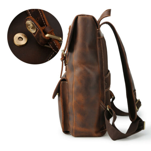 """Retro Men Leather Backpack Outdoor 15/"""" Laptop Hiking Travel Camping Carry On Bag"""