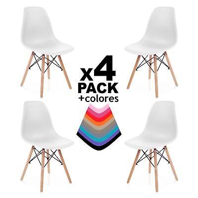 Pack 4 sillas de comedor cocina salón o escritorio, silla diseño nordico