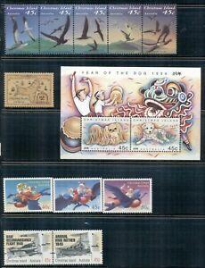 CHRISTMAS ISLAND 349-73 SG372-408 MNH 1993-95 Commems 3sets, 1single, 1MS Cat$18