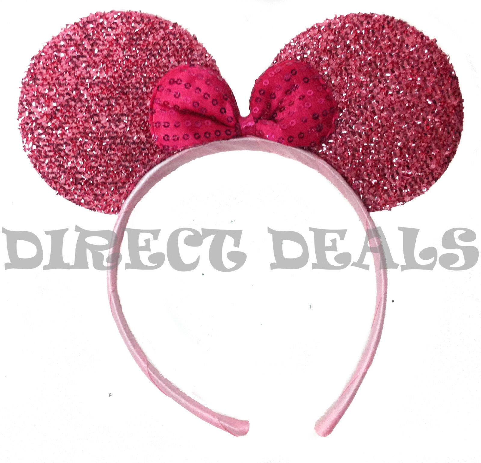 12 Minnie Mouse Ears Shiny Shimmer Silver Pink Headband Party Favors Birthday