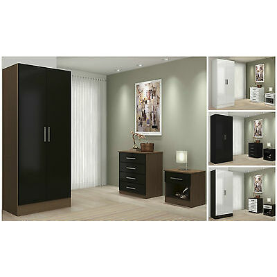 High Gloss Bedroom Furniture Sets 3 Piece Trio Wardrobe Drawers Chest & Bedside