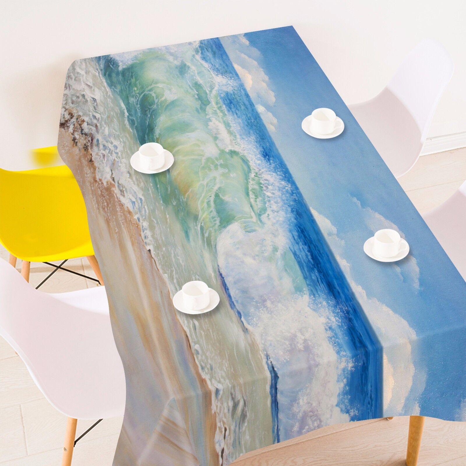 3D Vagues 4 Nappe Table Cover Cloth fête d'anniversaire AJ papier peint Royaume-Uni Citron