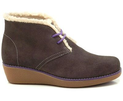 Clarks Mellie Rose Jnr 13 F Fit Girls Dark Grey Suede Fur Trim Wedge Ankle Boots