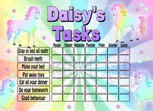Personalised Task Charts Inc Stickers Behaviour Reward Chart Many Designs Ebay