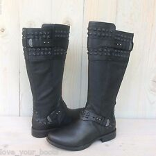 UGG DAYLE STUD BLACK LEATHER AWESOME RIDING BOOTS US 9.5 NIB