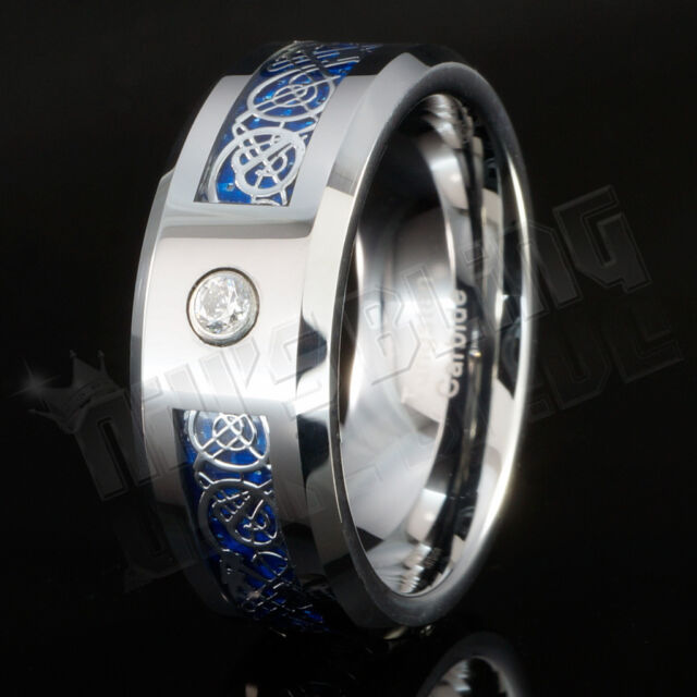 Silver Celtic Dragon CZ Tungsten Carbide Blue Carbon Fiber Wedding Band Men Ring
