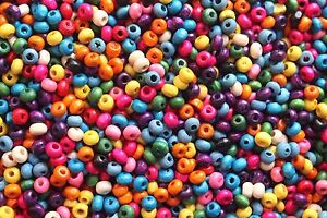 200-Wooden-4-x-4mm-Mixed-Bright-Coloured-Beads-Craft-Jewelry-Kids-Round-Beading