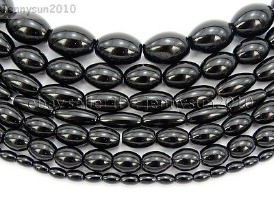 Natural Blak Onyx Gemstone Rice Olivary Beads 16'' 4mm 5mm 6mm 8mm 9mm 10mm 12mm