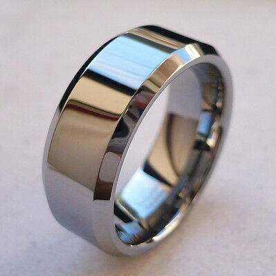 8MM TUNGSTEN CARBIDE HIGH POLISHED MAN'S COMFORT FIT WEDDING BAND RING SIZE 5-15
