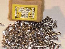 50x NETTLEFOLDS 1/2 x 4 CROMATO IN OTTONE TESTA ROTONDA VITI LEGNO VITE GKN