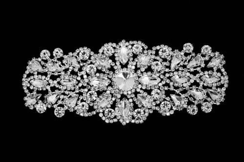 Rhinestone Diamante Applique Sew on Motif Wedding Silver Crystal Patch A138