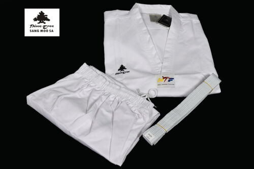 Taekwondo Suit White V-Neck Tkd Uniform Wt Pine Tree Dobok with Belt 43 5//16-78