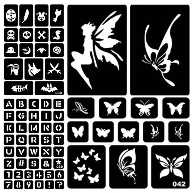 24 Girls Glitter Tattoo Body Art Stencil pack