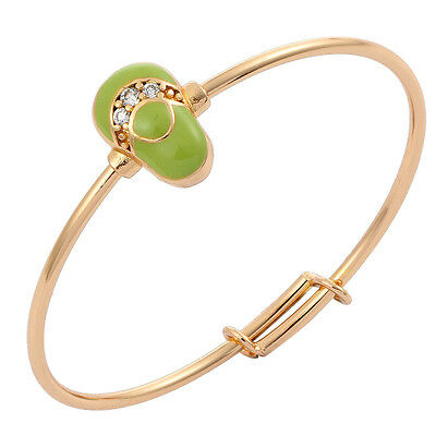 Toddler Baby 18K Gold Filled Cuff Bangle Green Painting Shoe Tiny Zircon Jewelry