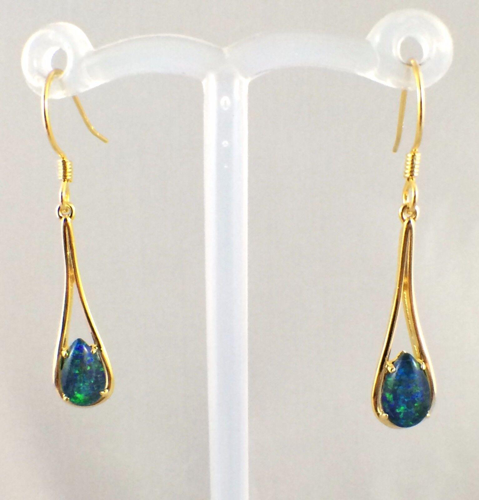 Triplet Opal Dangle Tear Drop Style Hook Earrings 18ct gold Plated w Certificate