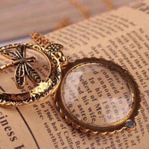 Damen Vintage Goldkette Lupe Libellen Design Anhänger Halskette