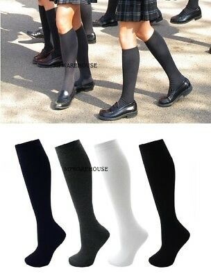 3 or 6 Pairs Cotton Uniform Plain Knee High Socks Girls Ladies School Office