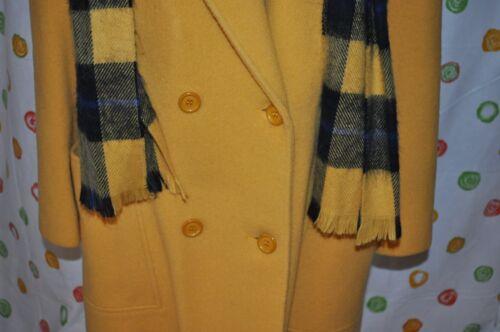Vintage Cute Gul Chic Frakke M Breasted Kjole Women`s Uld Usa Double Halstørklæde rBrHqpF