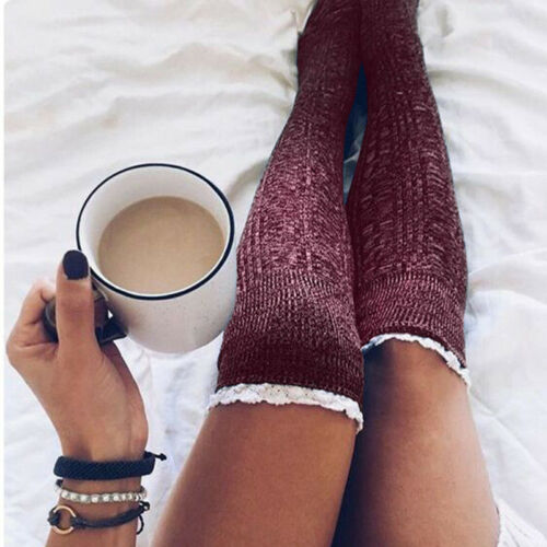 Damen Überknie Overknees Lang Socken Kniestrümpfe Strümpfe Stockings Stulpen