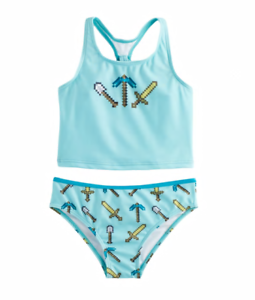 Tankini Swimsuit Girls Size 5//6 Minecraft 2-pc