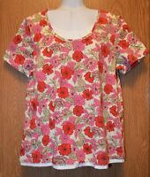Womens Pretty Floral Print Jason Maxwell Short Sleeve Tee Shirt Size Large