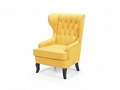 Wingback chair, armchair, retro, tufted, polyester, upholstered, yellow