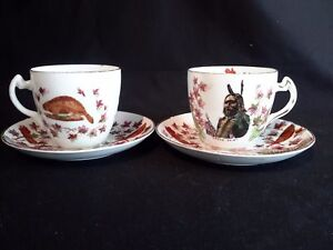 Pair-of-Historical-Antique-Cups-amp-Saucers-Royal-Stafford-China-Beaver-Indian
