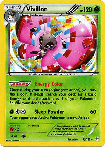 2x Pokemon XY BREAKthrough Vivillon #15//162 Holo Rare Card