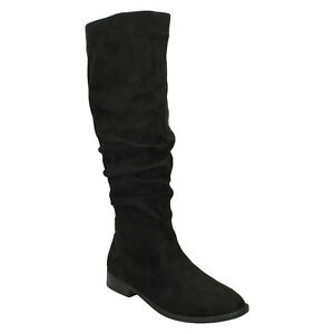 Ladies F4r419 a Zip Casual tacco in Smart Boots On Spot invernale microfibra blocco Long nera qEfwZwAC