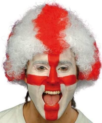 Red /& White England World Cup Supporters Football Fan Fancy Dress Wig P1567
