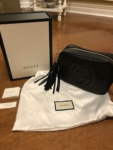 655b1527d Image is loading GUCCI-Soho-Leather-Disco-Bag-Black