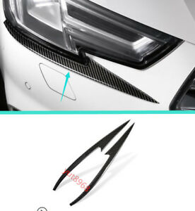 Real-Carbon-Fiber-Front-Headlight-Cover-Trim-Strips-For-Audi-A4-B9-2017-2018