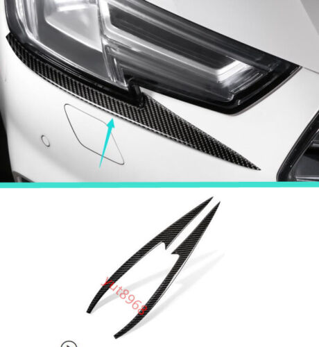 Real Carbon Fiber Front Headlight Cover Trim Strips Fit For Audi A4 B9 2017 2018