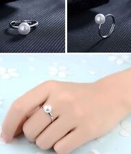 Women's/Girls: Silver Plated 7mm Freshwater Pearl Adjustable / Resizable Ring