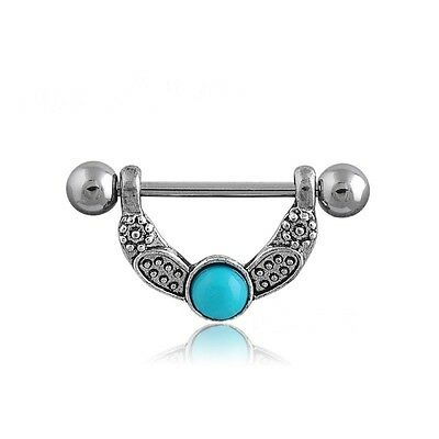 Surgical Steel Retro Turquoise Nipple Shield Body Piercing Barbell Bar Ring