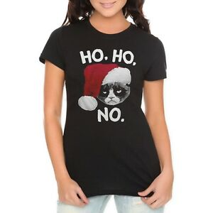Grumpy Cat Ho Ho No Junior Women's T-Shirt New | eBay