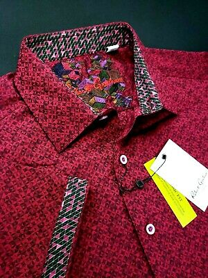 Robert Graham Digital Diamond Geometric Tonal Print Magenta Short Sleeve Shirts