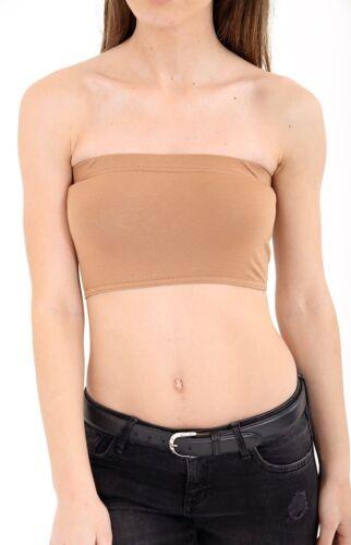 New Womens Plain Printed Boob Tube Strapless Bandeau Stretch Vest Bra Crop Top