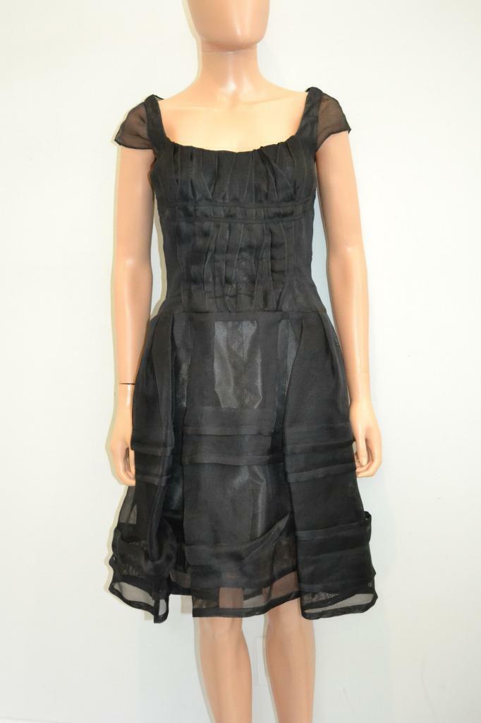 Vestido de noche Cocheolina Herrera súperposición  de seda negra con pura Corto de Novia Talla 8  ahorre 60% de descuento