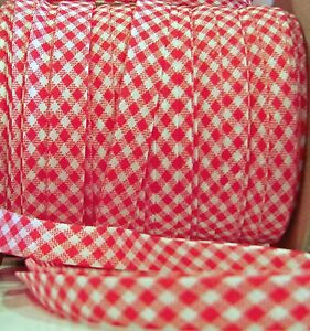 10-YDS-1-2-034-EXTRA-wide-Double-Fold-Bias-tape-Fabic-Trim-RED-amp-White-Gingham