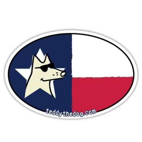 Teddy the Dog Car Magnet Texas Tough Auto Fridge Lone Star State Flag Oval Vinyl