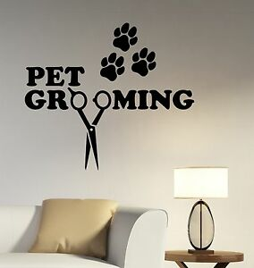 Image Is Loading Pet Grooming Salon Logo Wall Sticker Business Vinyl