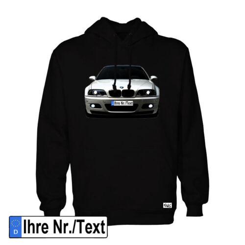 "EAKS® Hoody /""E46/"" schwarz Kapuzen Pullover Hooded Sweatshirt 3er mit Wunschtext"