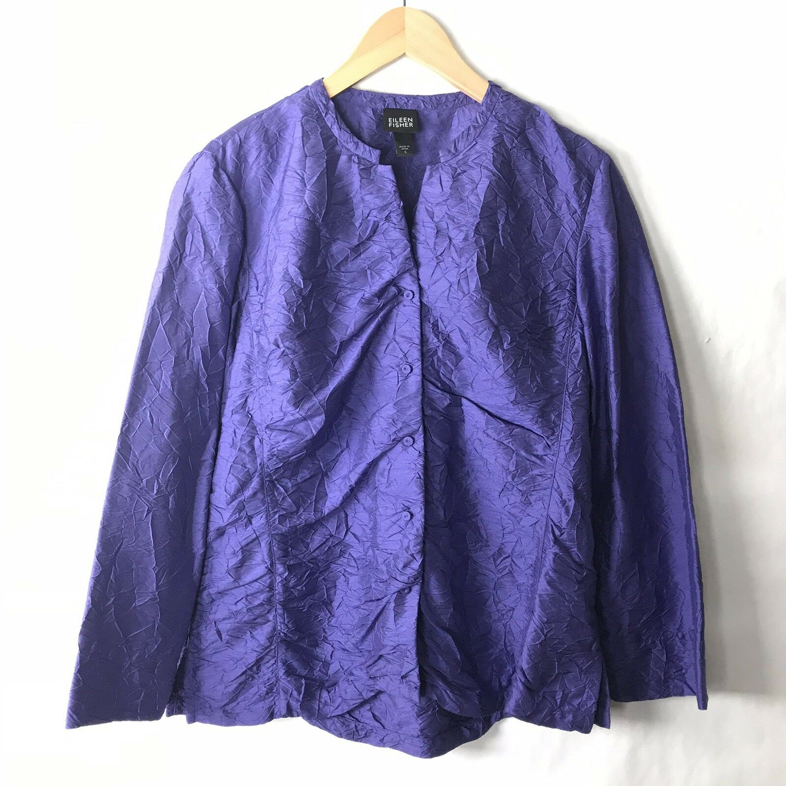 Eileen Fisher Small Silk Blouse lila Button Front Party Career Loose Texturot