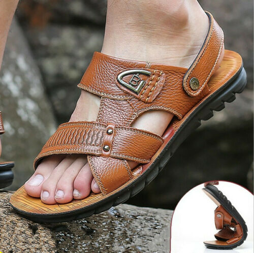 Men/'s Open Toe Beach Shoes Casual Sandals Slippers Leather New Sandals Slippers