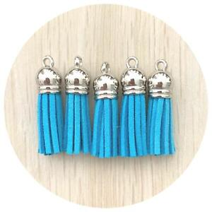 Mixed Packs. 5x Suede Tassel Charms with Silver Caps