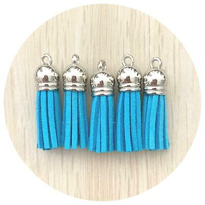 5x suede 39mm tassels MUSTARD YELLOW silver top 4 keyring silicone jewellery DIY