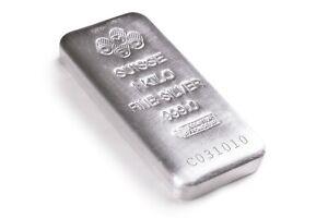 1 Kilo 32.15 oz Silver PAMP Suisse Silver Cast .999 Fine Silver Bar